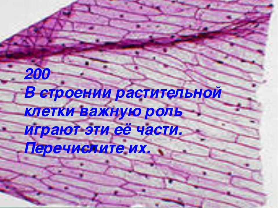 200 В строении растительной клетки важную роль играют эти её части. Перечисли...