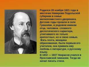 Родился 28 ноября 1821 года в местечке Немирове Подольской губернии в семье м
