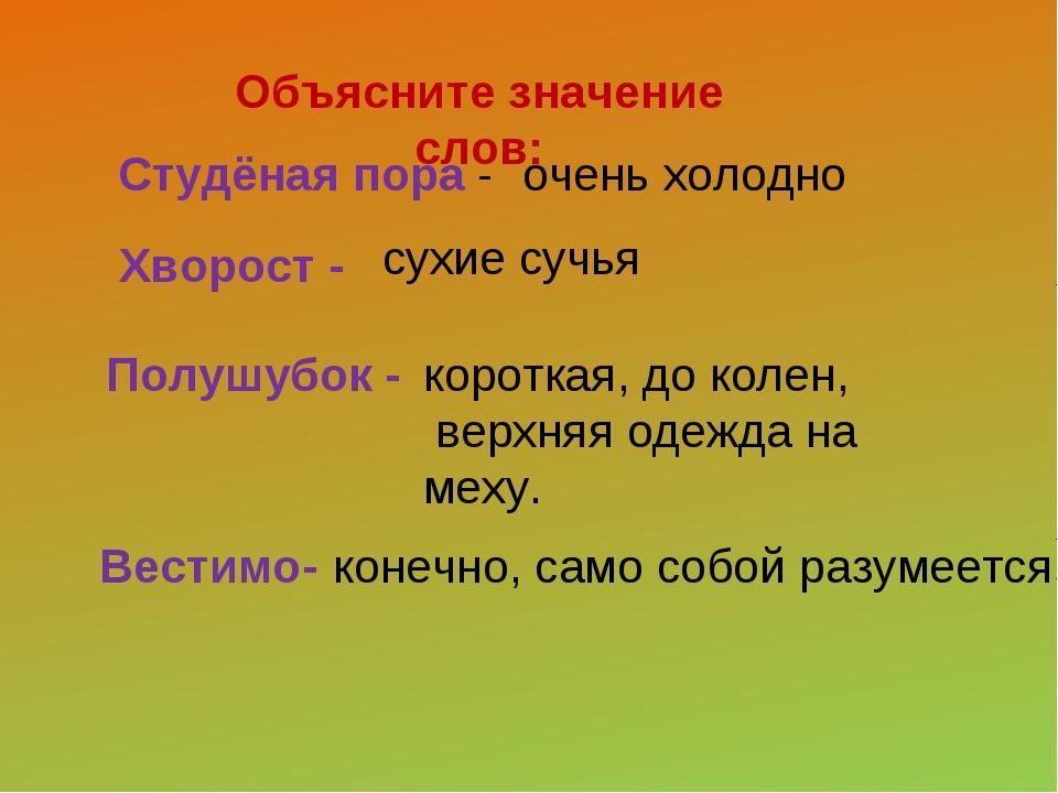 Вестимо- Объясните значение слов: Студёная пора - Хворост - Полушубок - очен...