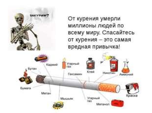 От курения умерли миллионы людей по всему миру. Спасайтесь от курения – это с