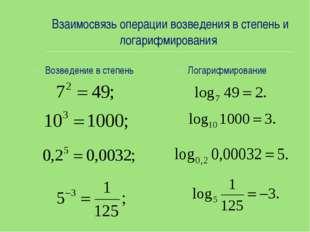 Взаимосвязь операции возведения в степень и логарифмирования Возведение в сте