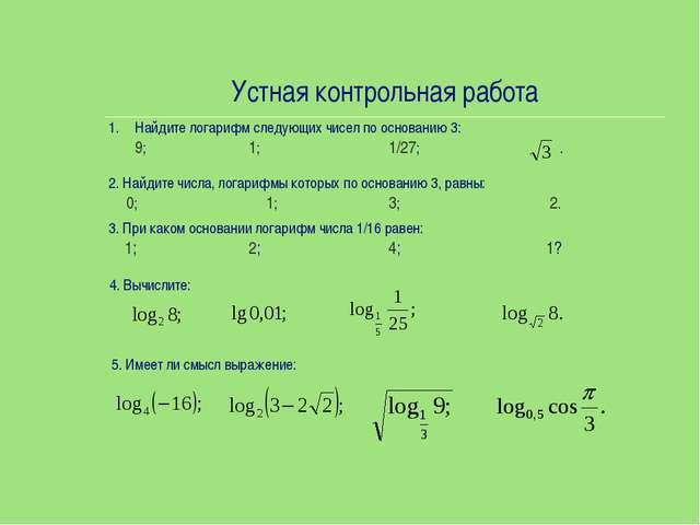 Устная контрольная работа Найдите логарифм следующих чисел по основанию 3: 9...