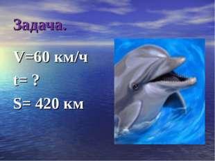 Задача. V=60 км/ч t= ? S= 420 км