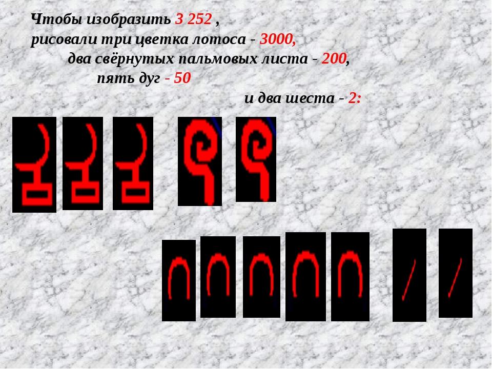 Чтобы изобразить 3 252 , рисовали три цветка лотоса - 3000, два свёрнутых пал...