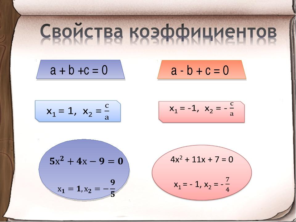 a + b +с = 0 а - b + с = 0