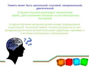 Память может быть зрительной, слуховой, эмоциональной, двигательной. В начале