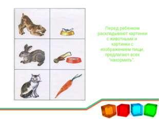 Перед ребенком раскладывают картинки с животными и картинки с изображением пи