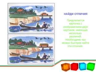 НАЙДИ ОТЛИЧИЯ Предлагается карточка с изображением двух картинок, имеющих нес