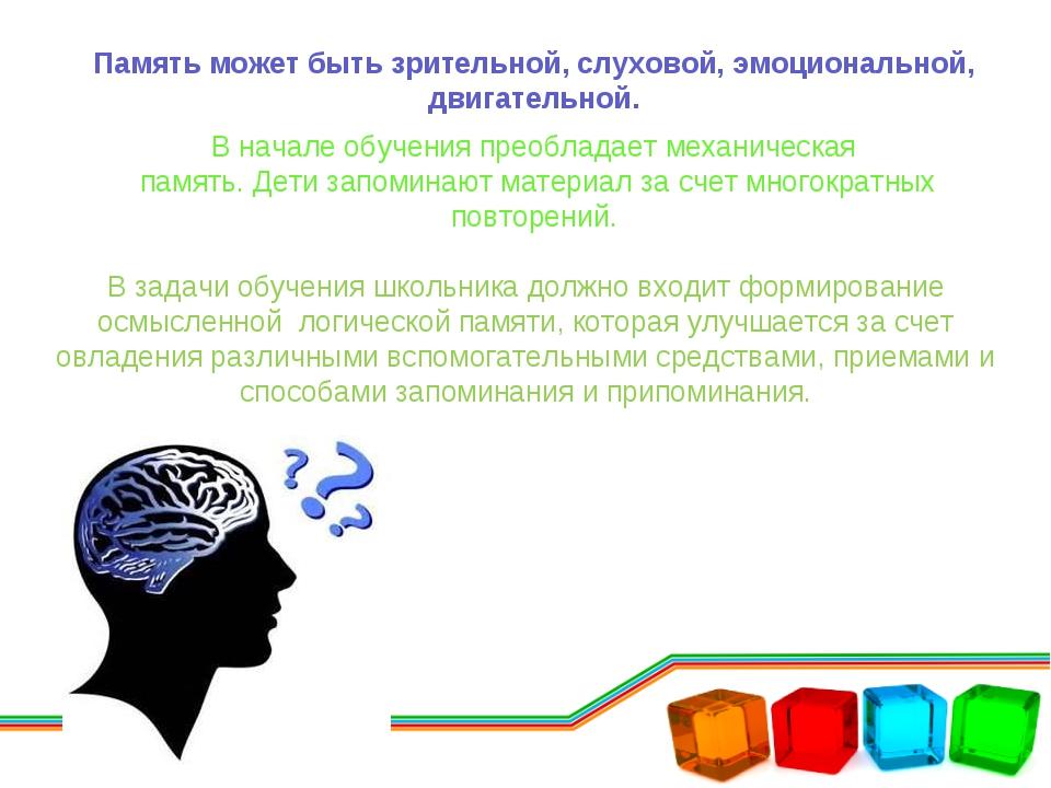 Память может быть зрительной, слуховой, эмоциональной, двигательной. В начале...