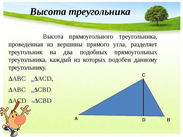 Высота прямоугольного треугольника, проведенная из вершины прямого угла, раз...