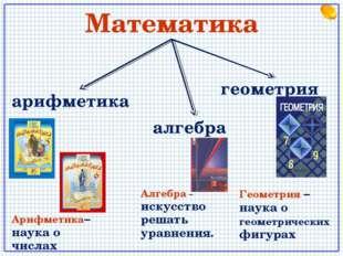 Математика арифметика алгебра геометрия Арифметика– наука о числах Алгебра –