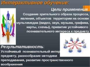 Интерактивное обучение: Цели применения: Создание зрительного образа процесса
