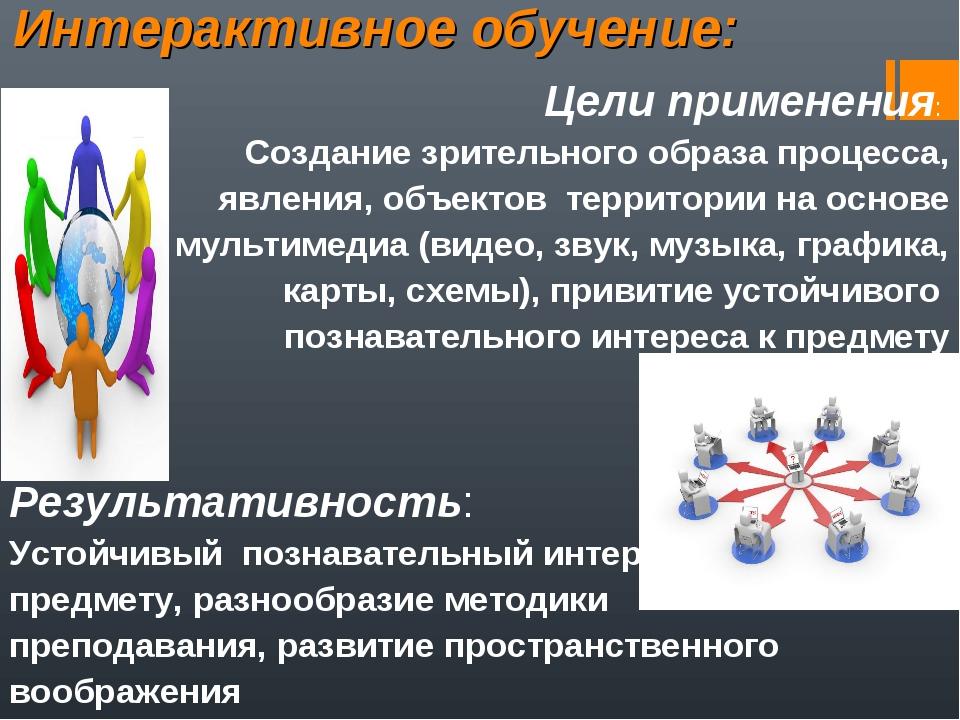 Интерактивное обучение: Цели применения: Создание зрительного образа процесса...