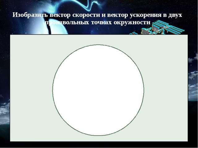 Изобразить вектор скорости и вектор ускорения в двух произвольных точках окру...