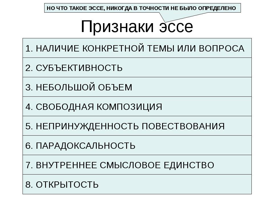 Признаки эссе 1. НАЛИЧИЕ КОНКРЕТНОЙ ТЕМЫ ИЛИ ВОПРОСА 3. НЕБОЛЬШОЙ ОБЪЕМ 4. СВ...