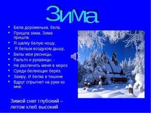 Бела дороженька, бела. Пришла зима. Зима пришла. Я шапку белую ношу, Я белым