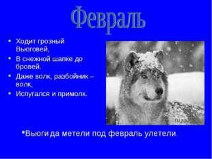Ходит грозный Вьюговей, В снежной шапке до бровей. Даже волк, разбойник – вол