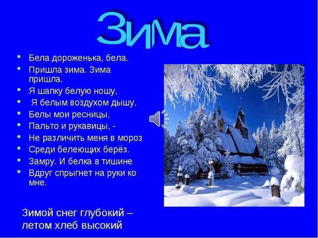 Бела дороженька, бела. Пришла зима. Зима пришла. Я шапку белую ношу, Я белым...