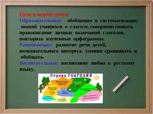 Цели и задачи урока: Образовательные: обобщение и систематизация знаний учащи