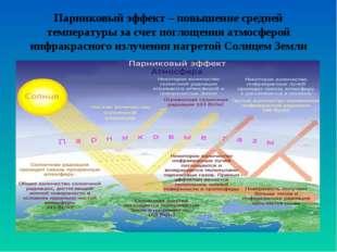 Парниковый эффект – повышение средней температуры за счет поглощения атмосфер
