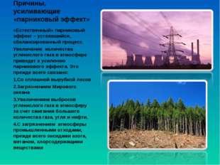 Причины, усиливающие «парниковый эффект» «Естественный» парниковый эффект – у