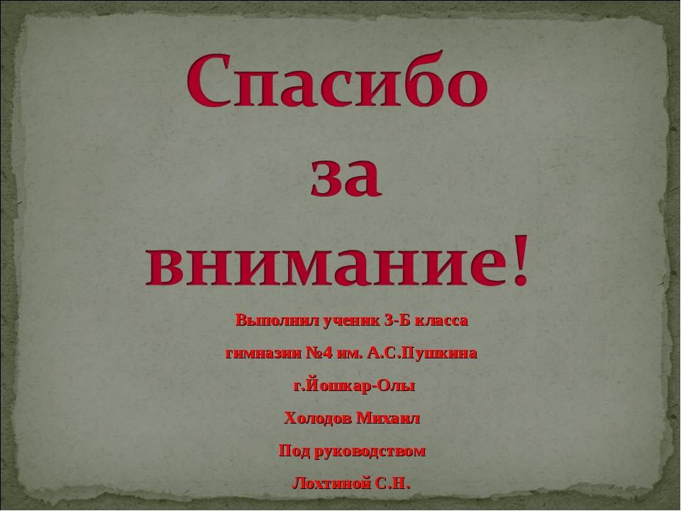 Выполнил ученик 3-Б класса гимназии №4 им. А.С.Пушкина г.Йошкар-Олы Холодов...