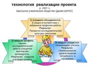 3) каждого учащегося сопровождает учитель. Результат: Самовыражение, удовлетв