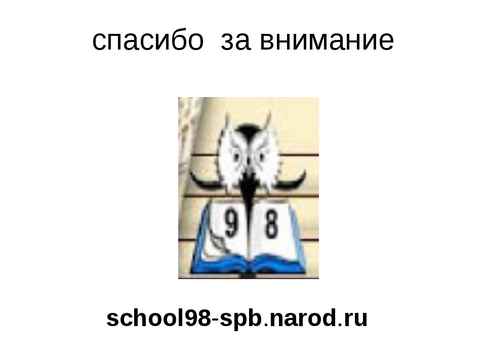спасибо за внимание school98-spb.narod.ru