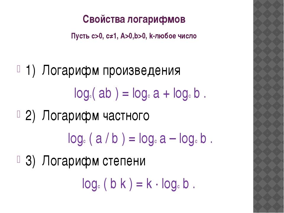 Свойства логарифмов Пусть с>0, c≠1, A>0,b>0, k-любое число 1) Логарифм прои...