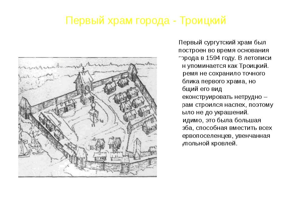 Первый храм города - Троицкий Первый сургутский храм был построен во время ос...