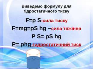 Виведемо формулу для гідростатичного тиску F=p S-сила тиску F=mg=ρS hg –сила