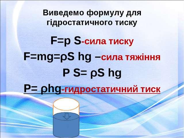 Виведемо формулу для гідростатичного тиску F=p S-сила тиску F=mg=ρS hg –сила...