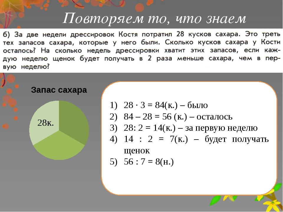 Повторяем то, что знаем 28 ∙ 3 = 84(к.) – было 84 – 28 = 56 (к.) – осталось 2...