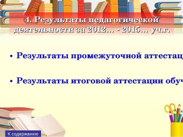 4. Результаты педагогической деятельности за 2012… - 2015… уч.г. Результаты п...