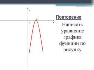 Повторение Написать уравнение графика функции по рисунку x y o 2