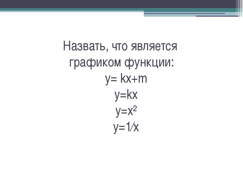 Назвать, что является графиком функции: y= kx+m y=kx y=x² y=1⁄x