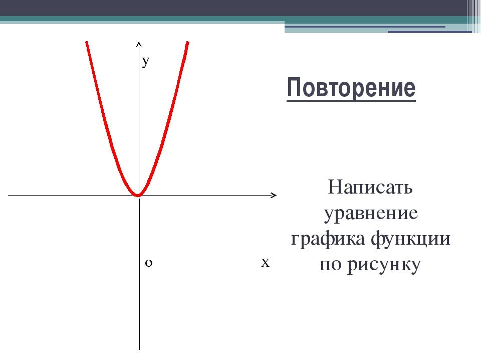 Повторение Написать уравнение графика функции по рисунку y o X