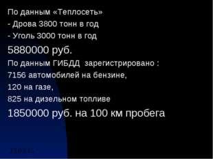 По данным «Теплосеть» - Дрова 3800 тонн в год - Уголь 3000 тонн в год 5880000