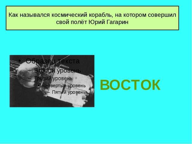 Как назывался космический корабль, на котором совершил свой полёт Юрий Гагари...