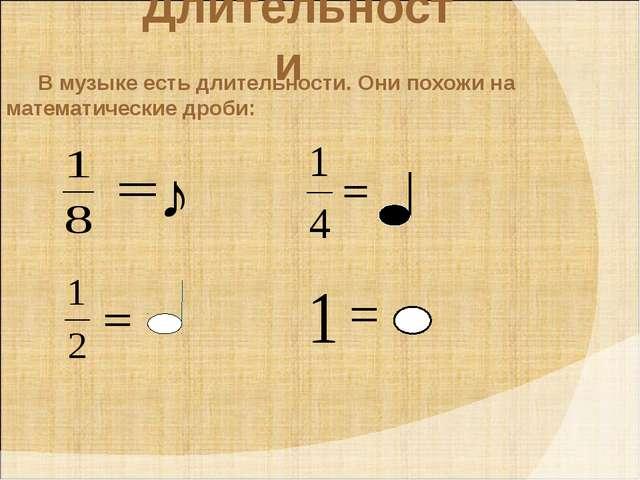 Длительности В музыке есть длительности. Они похожи на математические дроби:
