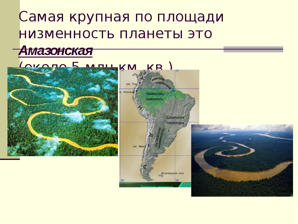 Самая крупная по площади низменность планеты это Амазонская (около 5 млн.км....