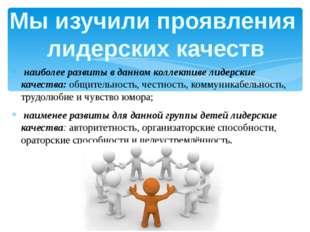 наиболее развиты в данном коллективе лидерские качества: общительность, чест