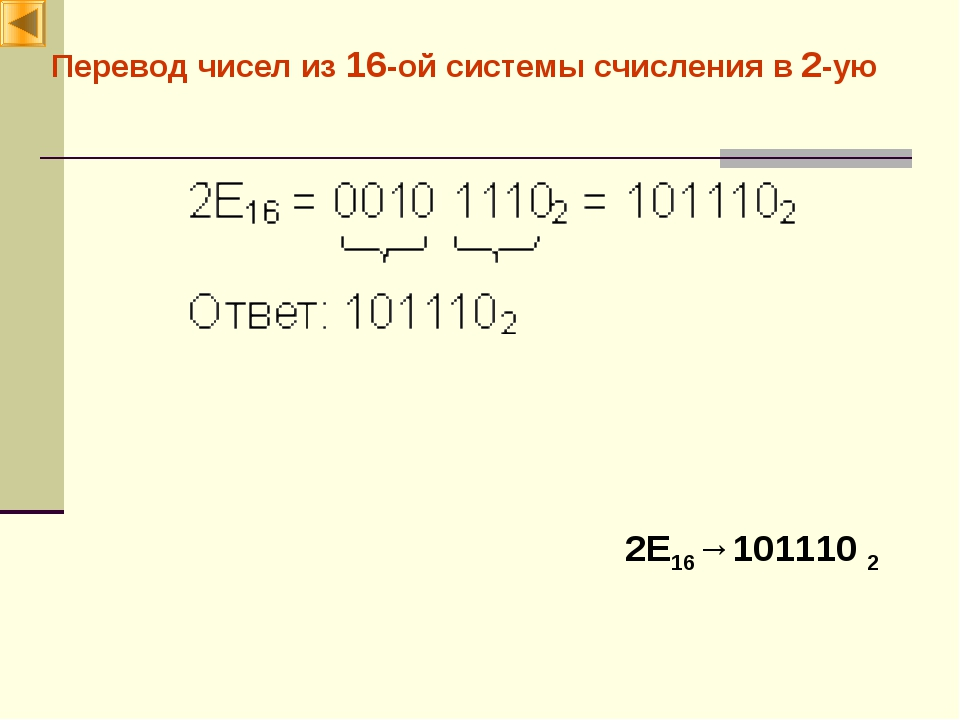 Перевод чисел из 16-ой системы счисления в 2-ую 2E16→101110 2