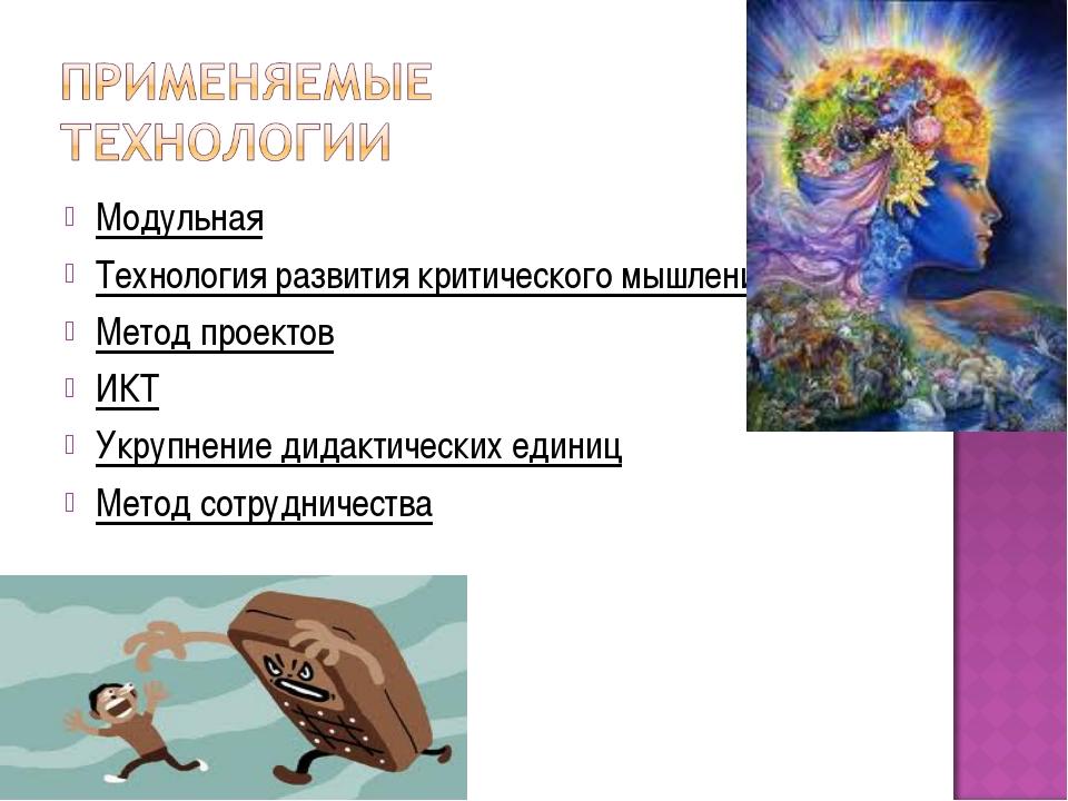 Модульная Технология развития критического мышления Метод проектов ИКТ Укрупн...