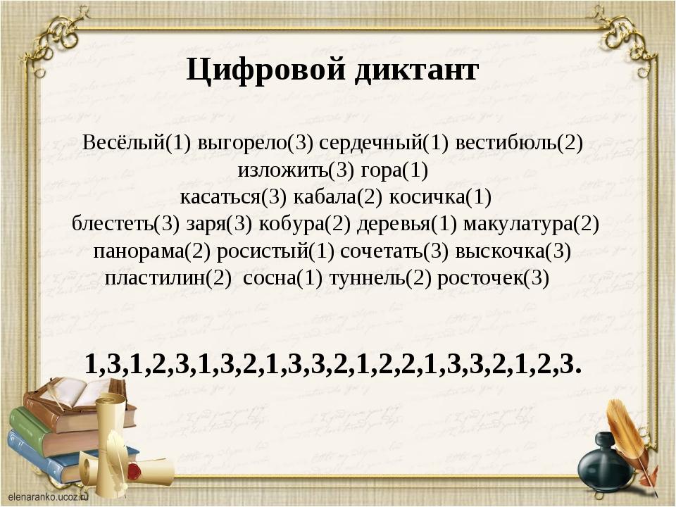 Цифровой диктант Весёлый(1) выгорело(3) сердечный(1) вестибюль(2) изложить(3)...