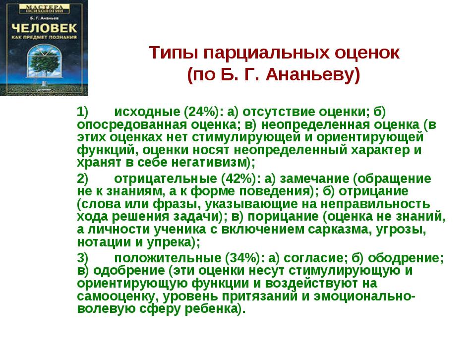 Типы парциальных оценок (по Б. Г. Ананьеву) 1) исходные (24%): а) отсу...