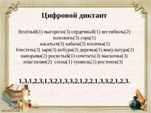 Цифровой диктант Весёлый(1) выгорело(3) сердечный(1) вестибюль(2) изложить(3)