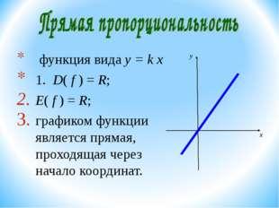функция вида y = k х 1. D( f ) = R; E( f ) = R; графиком функции является пр