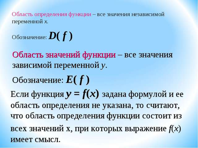 Область определения функции – все значения независимой переменной х. Обозначе...