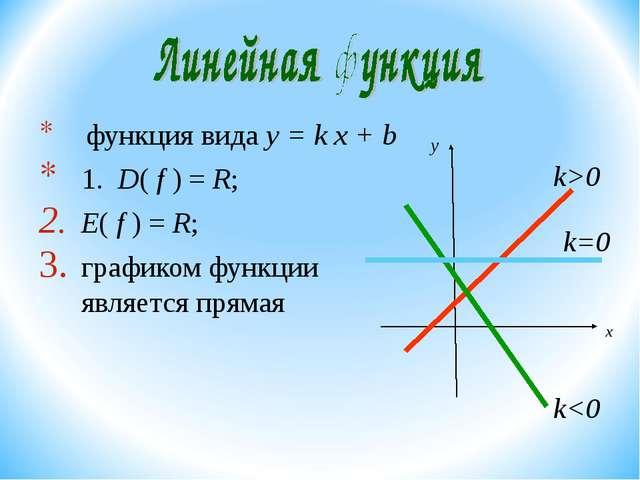 функция вида y = k х + b 1. D( f ) = R; E( f ) = R; графиком функции являетс...